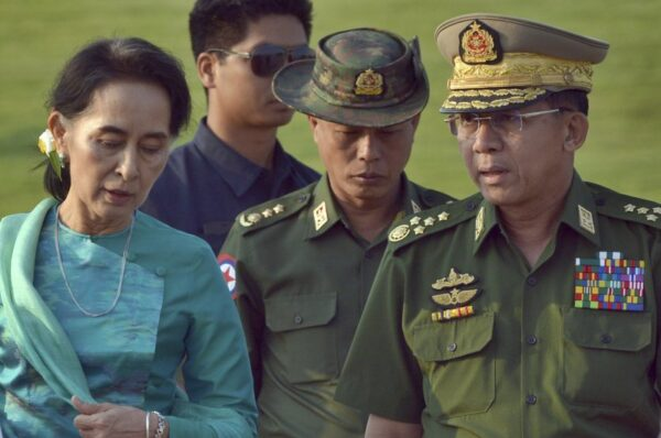 A military coup in Myanmar. Aun San Suu Kyi is in detention.